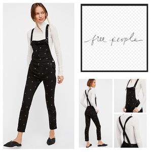 🆕Free People Embroidered Denim Overalls.  NWOT.